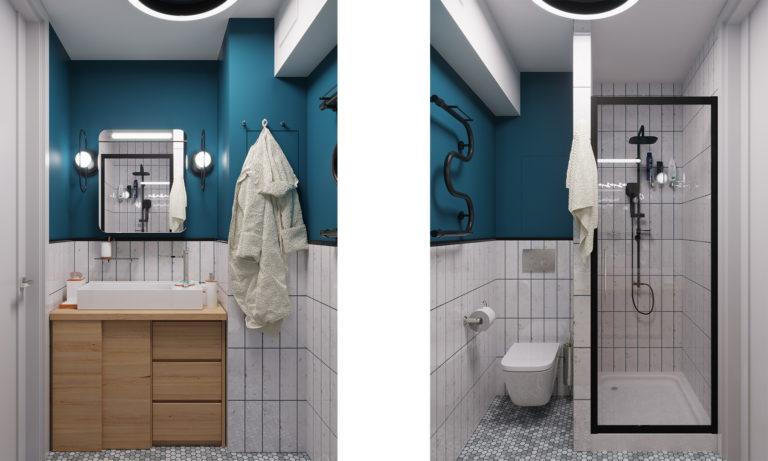 Совмещенная ванная комната с санузлом в скандинавской стилистике